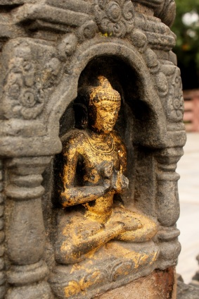 A view of Buddha in Mahabodhi temple