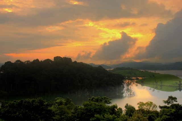 Morning View of banasura dam. Though it was a cloudy morning. Sun manages to make the place magical